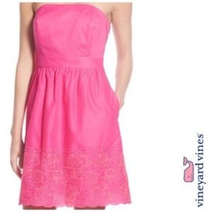 Vineyard Vines 4 Pink Fish Eyelet Strapless Dress